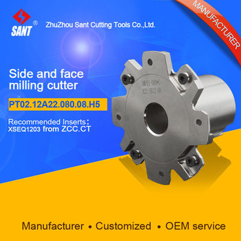 Indexable milling cutter Match insert XSEQ1203 Side and face milling cutter disc PT02.12A22.080.08.H5/SMP01-080X5-A22-SN12-08