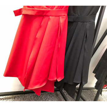 Quality Victoria Beckham woman dresses solid color black/red sleeveless mid-calf OL office dress S-XL size 71040